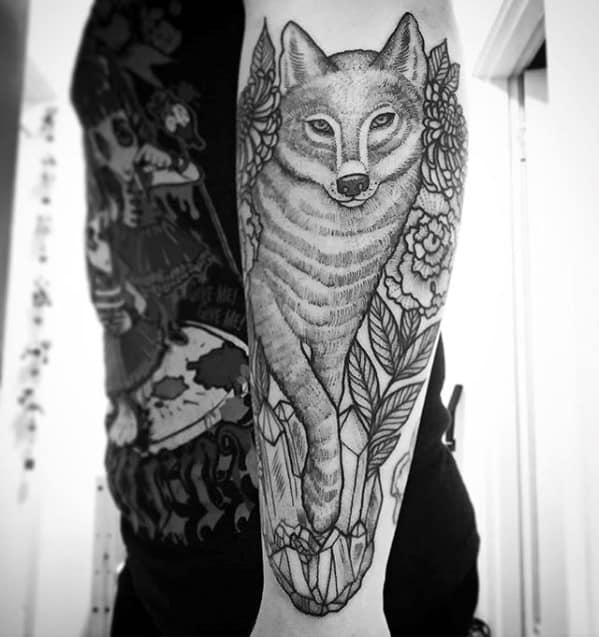 Male Tattoo With Coyote Design