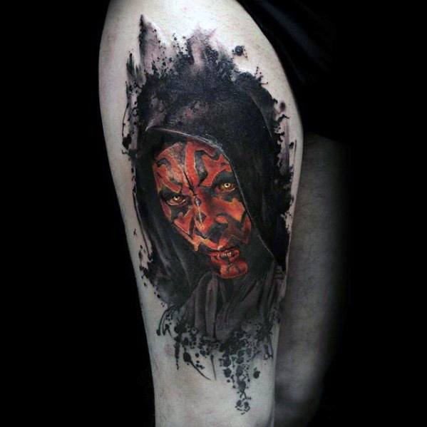 Male Tattoo With Darth Maul Watercolor Design On Thigh