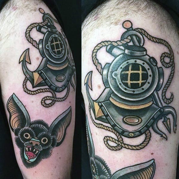 Male Tattoo With Diving Helmet Design On Upper Arm