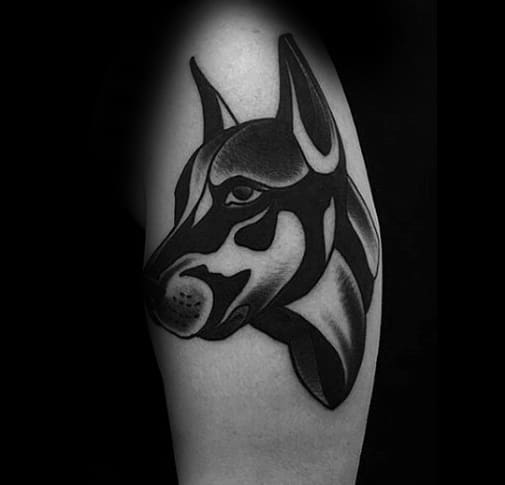 Male Tattoo With Doberman Design