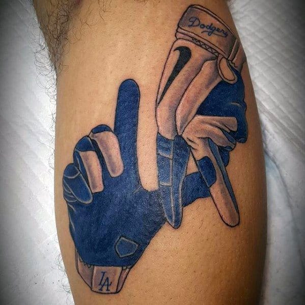 Male Tattoo With Dodgers Design Baseball Gloves On Leg Calf
