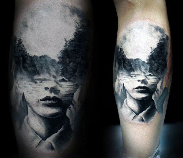 Male Tattoo With Double Exposure Design