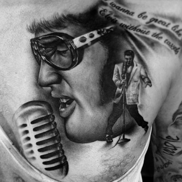 Male Tattoo With Elvis Presley Design On Chest