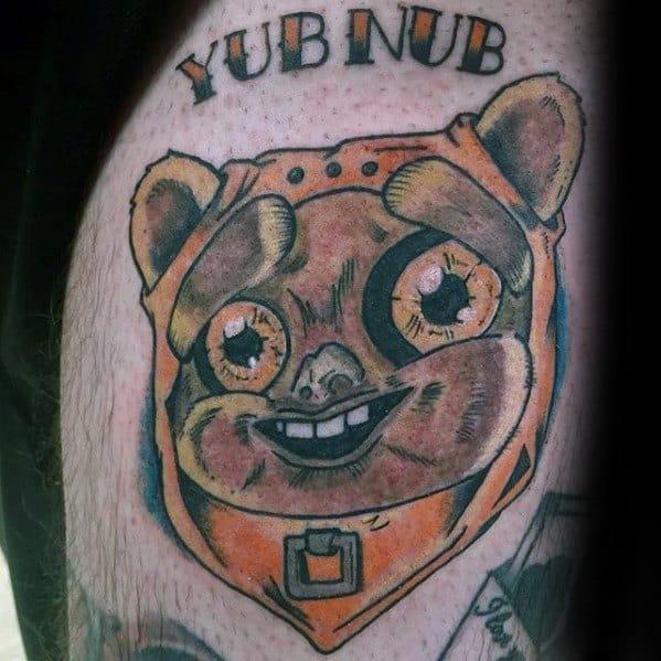 Male Tattoo With Ewok Design