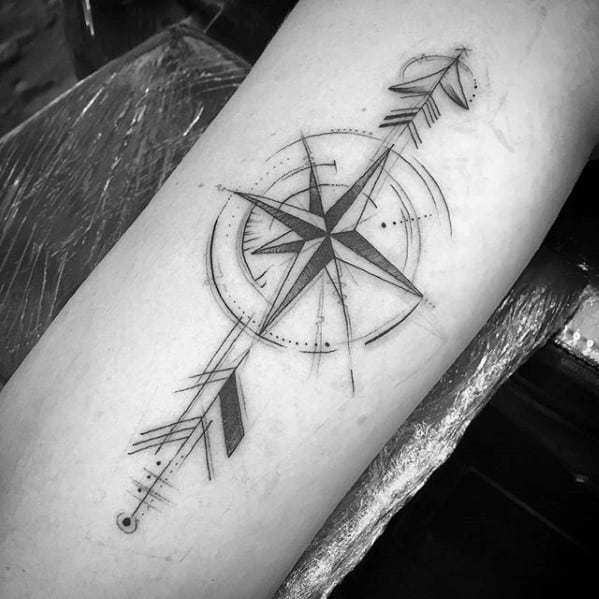Male Tattoo With Geometric Arrow Design