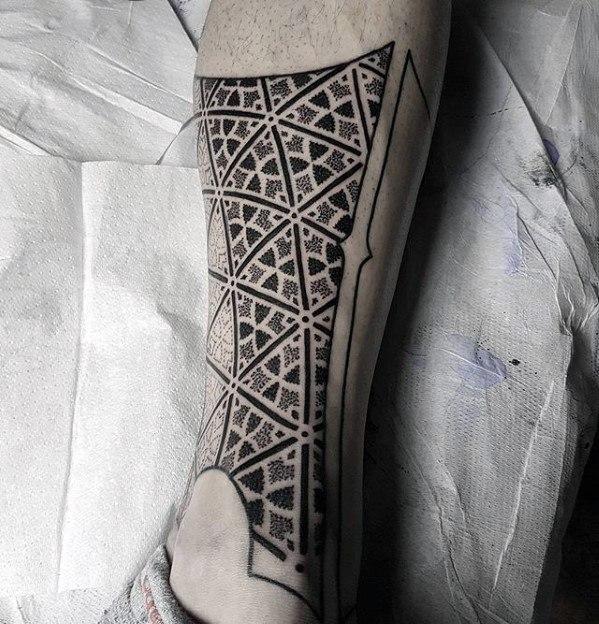 Male Tattoo With Geometric Leg Design