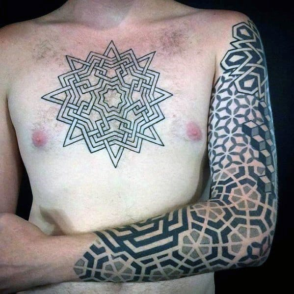 Male Tattoo With Geometric Sleeve Design