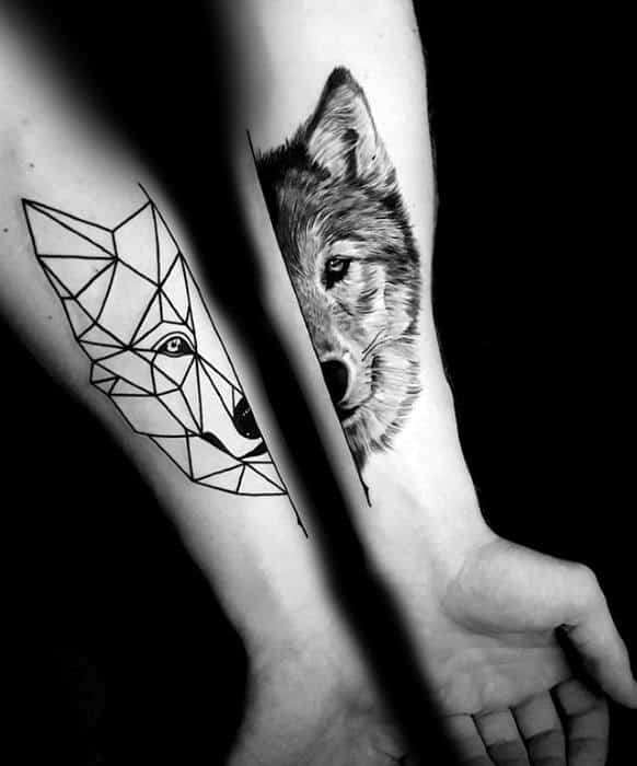 Male Tattoo With Geometric Wolf Inner Forearm Design