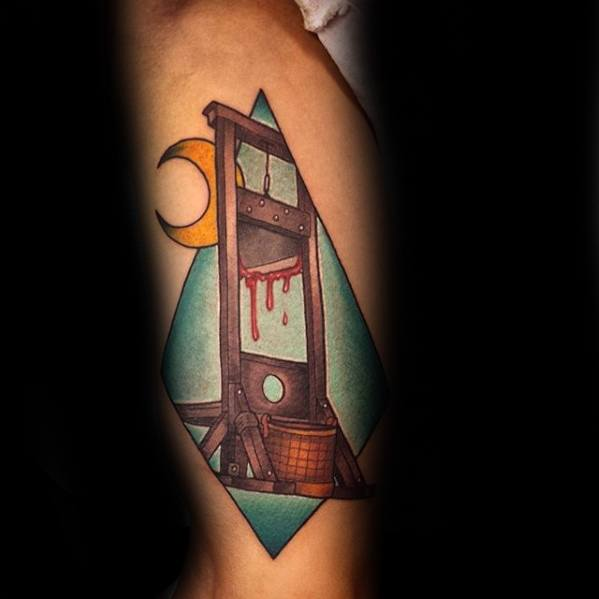 Male Tattoo With Guillotine Design