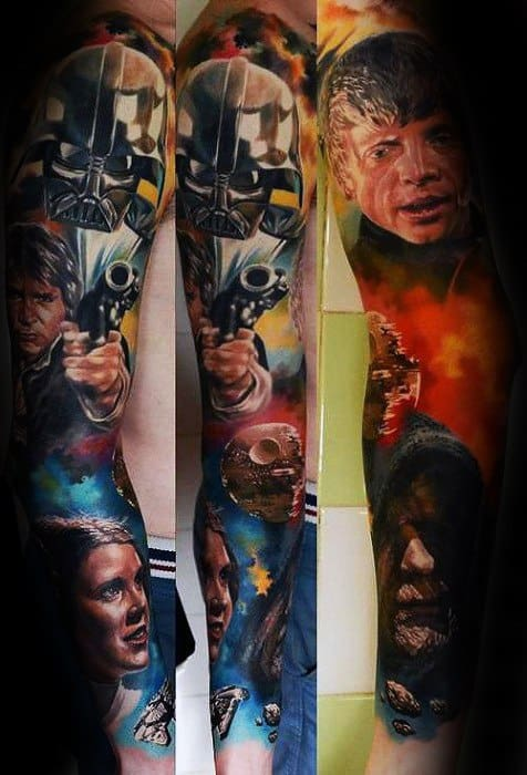 Male Tattoo With Han Solo Design Full Arm Sleeve Star Wars Themed