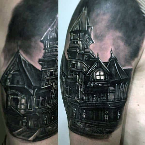 Male Tattoo With Haunted House Design