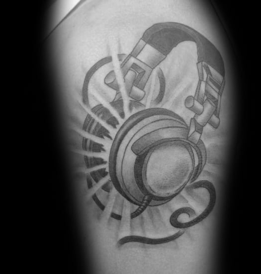 Male Tattoo With Headphones Design On Arm