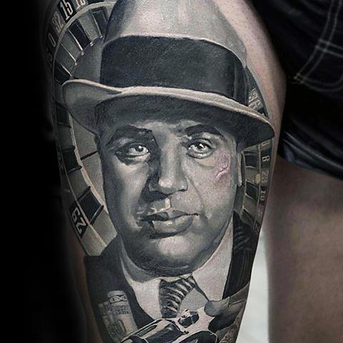 Male Tattoo With Hyper Realistic 3d Thigh Al Capone Design