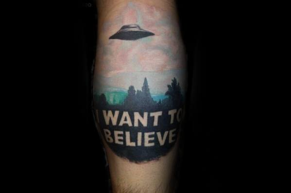 Male Tattoo With I Want To Believe Design Leg Calf