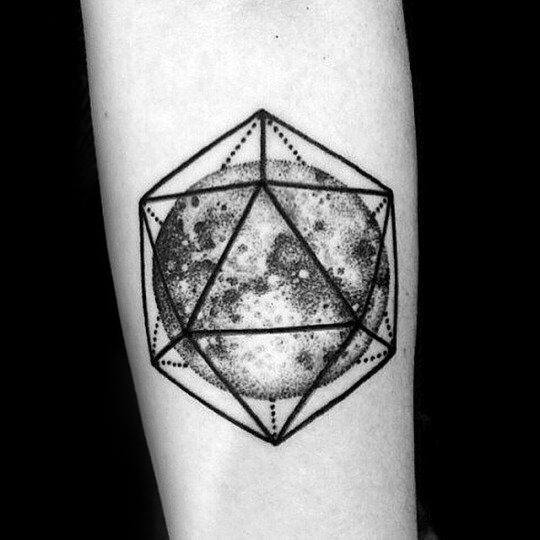 Male Tattoo With Icosahedron Design