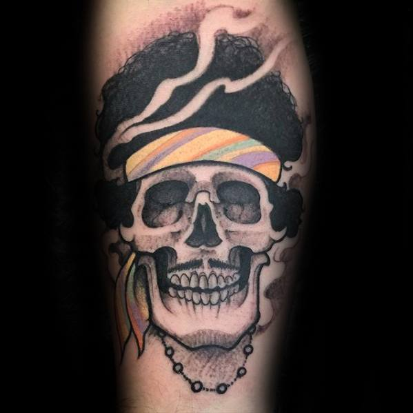 Male Tattoo With Jimi Hendrix Skull Design