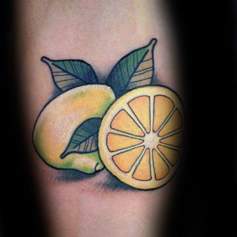 Male Tattoo With Lemon Design