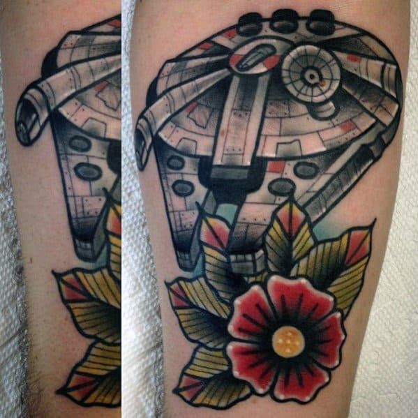 Male Tattoo With Millennium Falcon Design