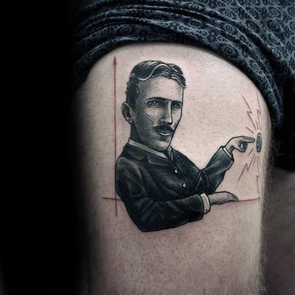 Male Tattoo With Nikola Tesla Design
