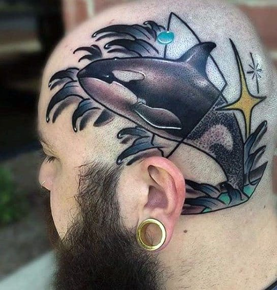 Male Tattoo With Orca Killer Whale Design On Head