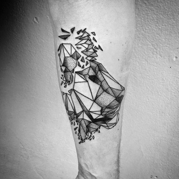 Male Tattoo With Outer Forearm Geometric Lion Design