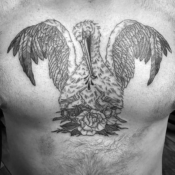 Male Tattoo With Pelican Design On Upper Chest