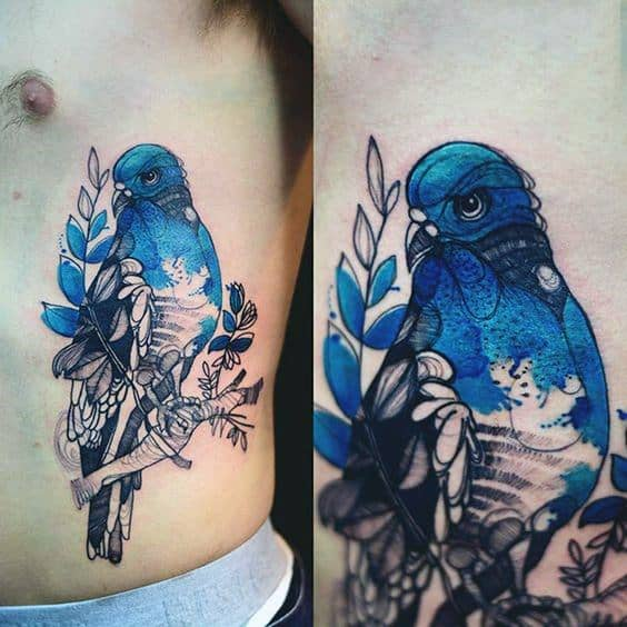 Male Tattoo With Pigeon Design