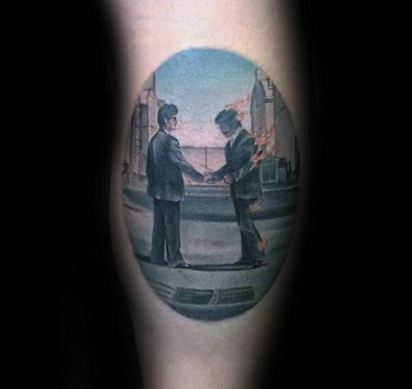 Male Tattoo With Pink Floyd Wish You Were Here Design Leg Calf