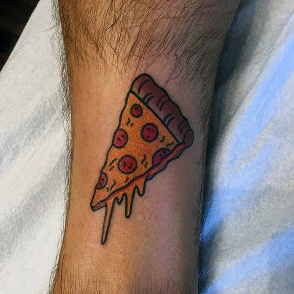 Male Tattoo With Pizza Slice Design On Lower Leg