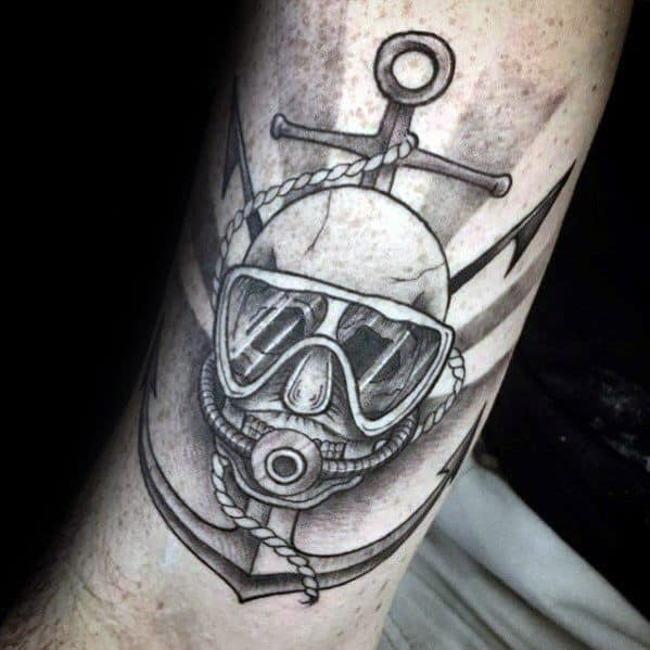 Male Tattoo With Scuba Diving Design
