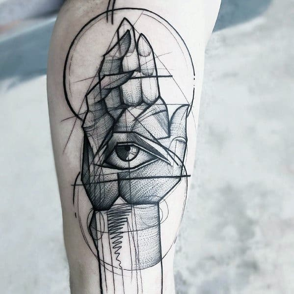 Male Tattoo With Sketch Design On Leg