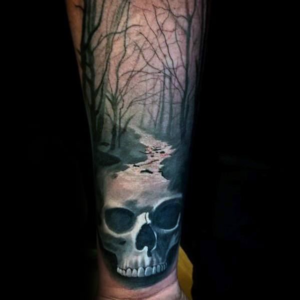Male Tattoo With Skull Head River Design On Inner Forearm