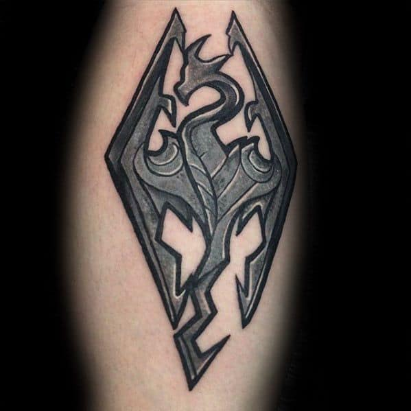Male Tattoo With Skyrim Design On Leg Calf