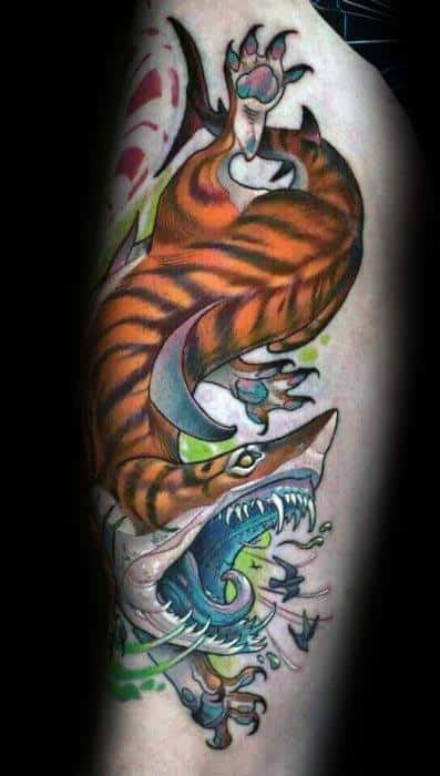 Male Tattoo With Tiger Shark Design