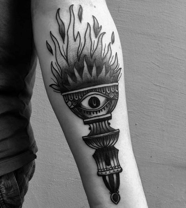 Male Tattoo With Torch Design