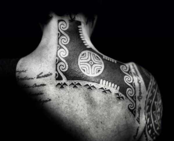 Male Tattoo With Tribal Neck Design