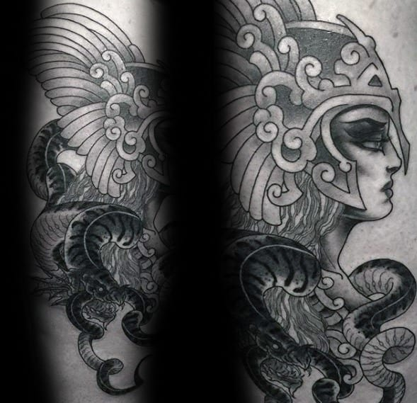 Male Tattoo With Valkyrie Design On Leg