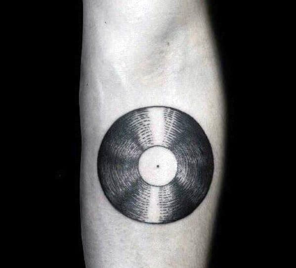 Male Tattoo With Vinyl Record Design Retro Inner Forearm