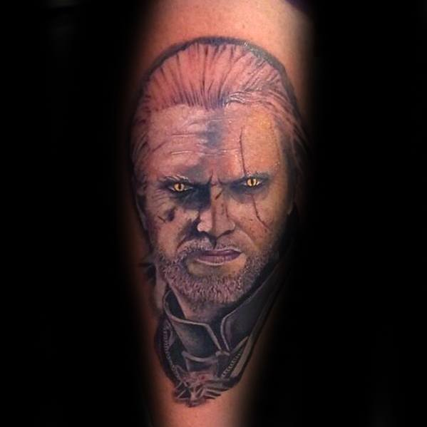 Male Tattoo With Witcher Design