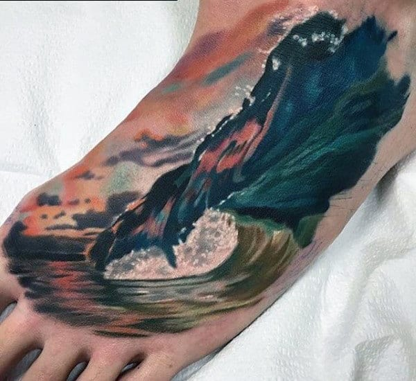 60 wave tattoo designs for men an ocean of manly ideas for Mens foot tattoos
