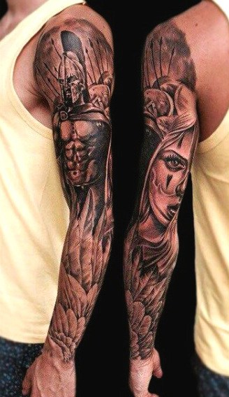Male Tattoos With Wings Full Sleeve Battle Theme