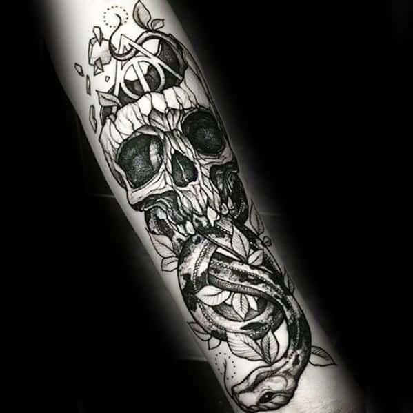Male The Dark Mark Tattoo Design Inspiration Inner Forearm