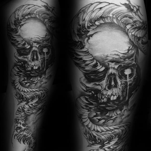 Male The Dark Mark Tattoo Ideas Full Arm