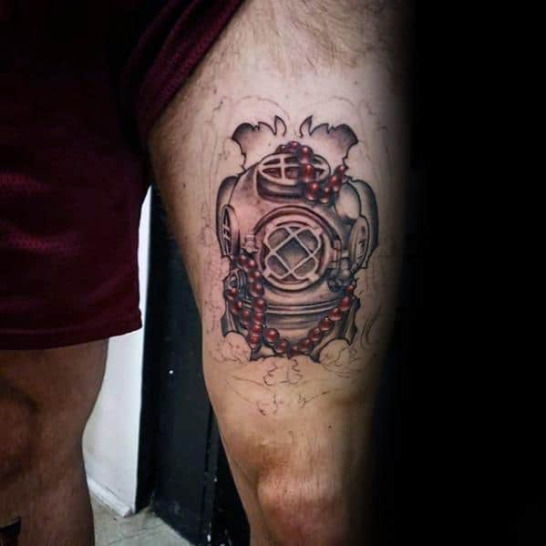 Male Thigh Diving Helmet Tattoo Ideas