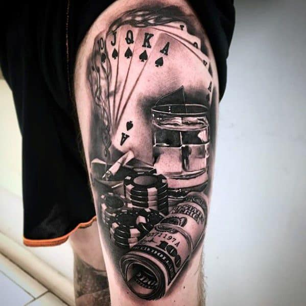Male Thigh Poker Chip Tattoo Ideas