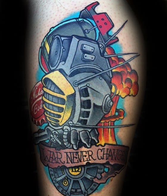 Male Thigh Tattoo With Fallout Design