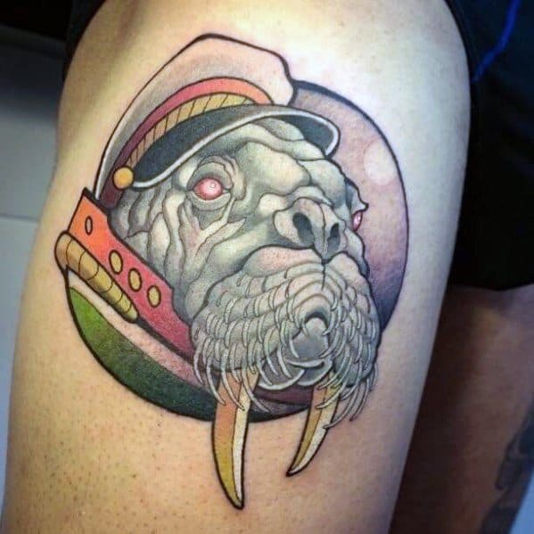 Male Thigh Walrus With Sailor Hat Tattoo Ideas