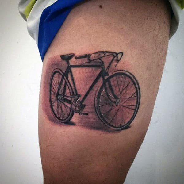 Male Thighs Bicycle Tattoo