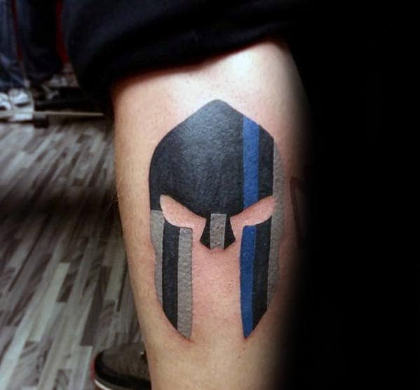 Male Thin Blue Line Spartan Helmet Leg Tattoos