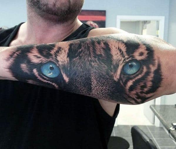 Male Tiger Eyes Outer Forearm Tattoo Ideas